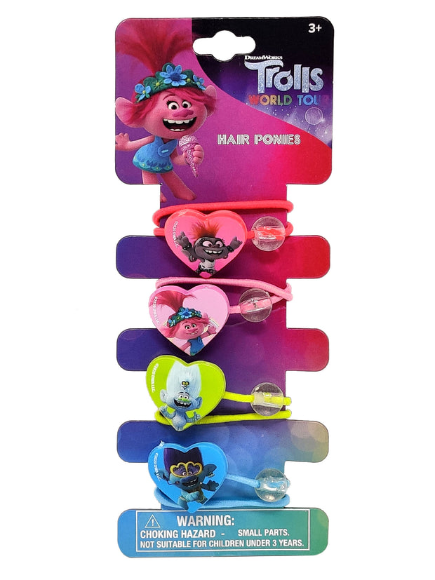 Girls Dreamworks Trolls World Tour Poppy Barb Guy Hair Ponies Ties & Clips Set