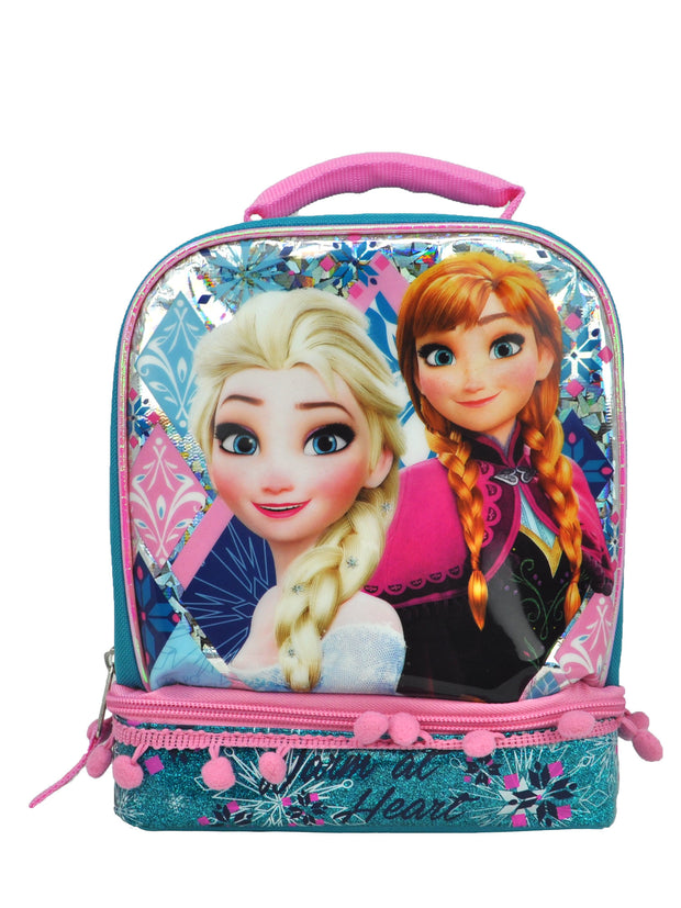 Frozen Girls Elsa & Anna Dual Compartment Insulated Lunch Bag