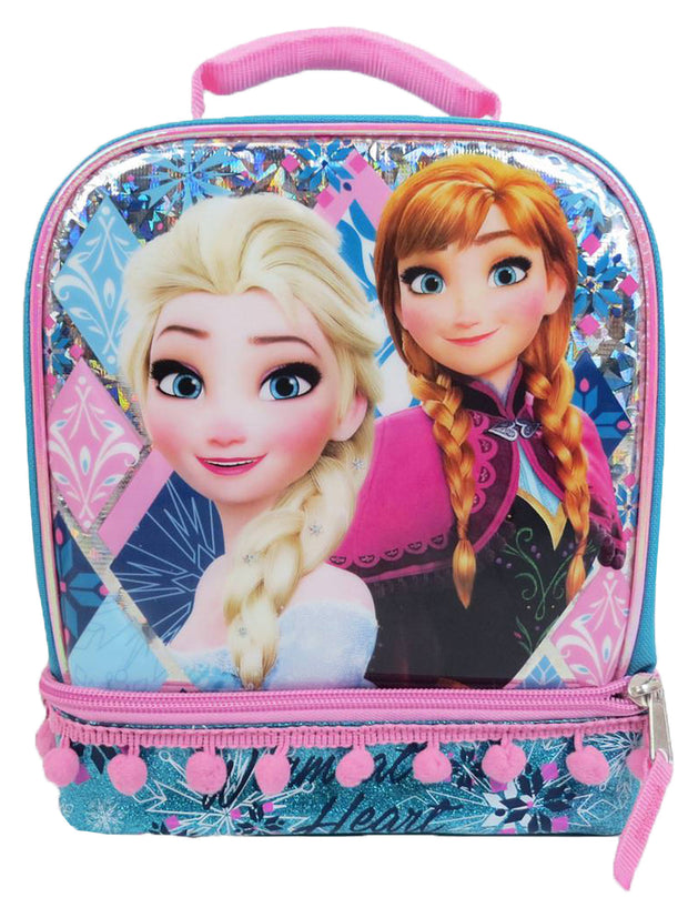 Frozen Elsa & Anna Dual Compartment Lunch Bag & 2-Count Snack Container Set