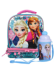 Frozen Insulated Lunch Bag Dual Compartment Elsa Anna & 12oz Water Bottle