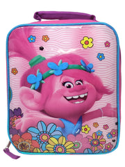 "Trolls Queen Poppy Insulated Lunch Bag 9"" Zipper Closure Flowers Pink"