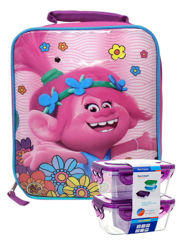 Dreamworks Trolls Insulated Lunch Bag Queen Poppy w/ Snack Container Set