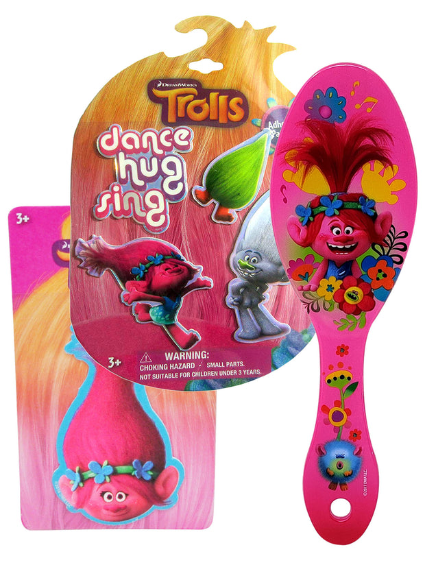 Girls Trolls Diamond Branch Adhesive Patches w/ Queen Poppy Hair Brush Set