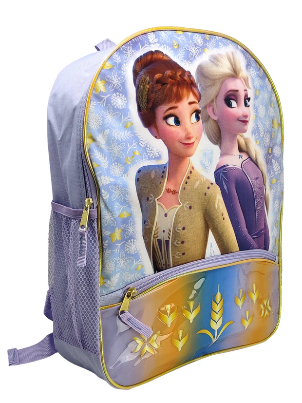 "Disney Frozen 2 Elsa 16"" Backpack w/ Lower Pocket & PVC 3 -Ring Pencil Case Set"