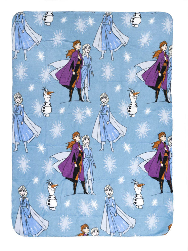 "Frozen II Throw Blanket Anna Elsa 45"" x 60"" w/ Disney Large Tote Bag Kristoff"