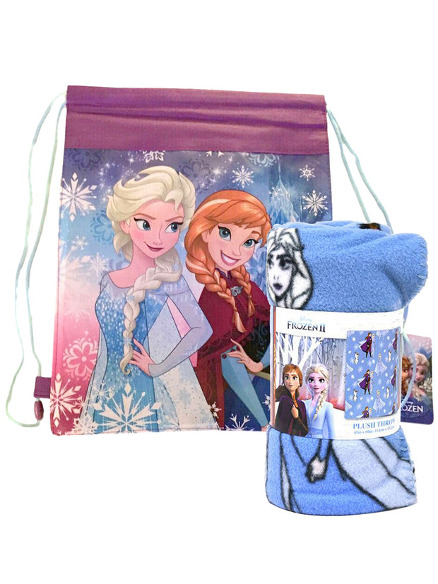 "Frozen II Anna Elsa Throw Blanket 45"" x 60"" w/ Disney Drawstring Cinch Bag"