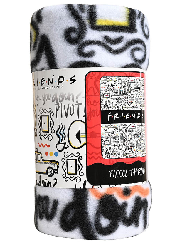 "Friends TV Show Logo Fleece Throw Blanket 45"" x 60"" Cafe Taxi Cat White"