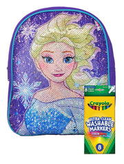"Disney Frozen Reversible Sequins Backpack 12"" w/ Colormax Washable Marker 8PK"