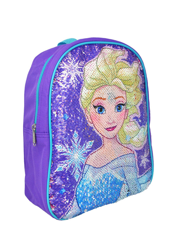 "Frozen Girls 12"" Small Backpack with Reversible Sequins Elsa Anna Purple"