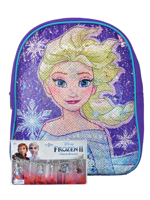 "Disney Frozen 2 Mini 12"" Backpack Reversible Sequins Anna w/ Charm Bracelet"