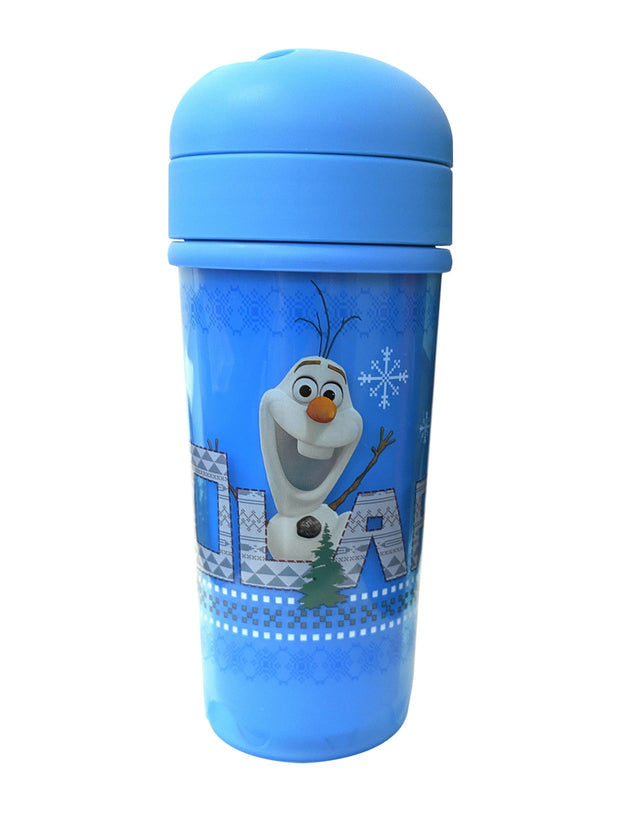 Girls Frozen Olaf 8.7oz Double Wall Tumbler Cup w/ Straw Blue BPA Free 2-Pack