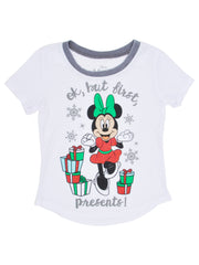 Girls Minnie Mouse Christmas Presents T-Shirt White X-Small 4/5