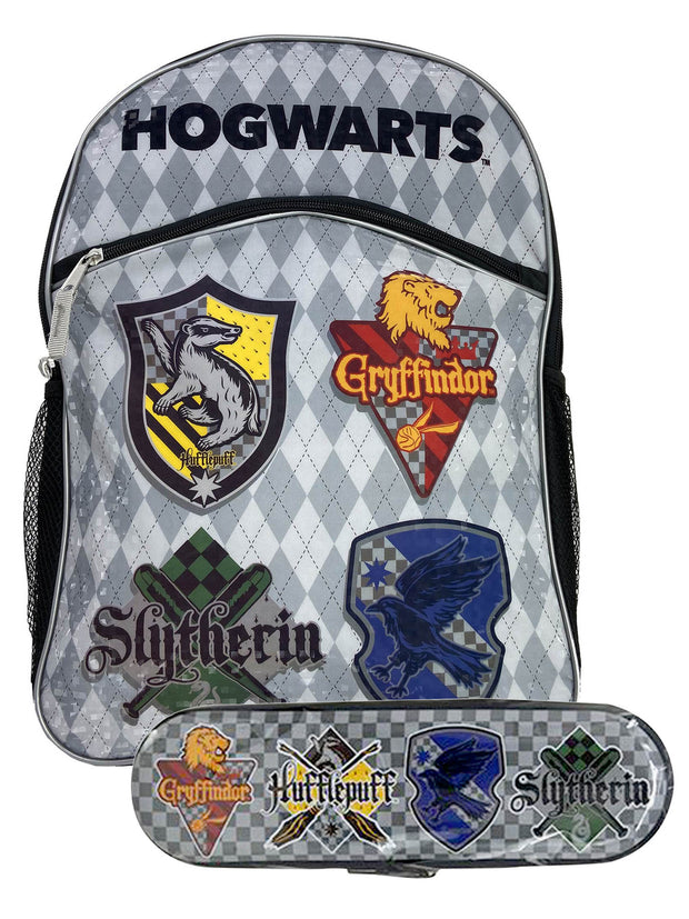 "Boys Harry Potter 16"" Gray Backpack Crest Shield w/ Zipper Tin Pencil Case Set"