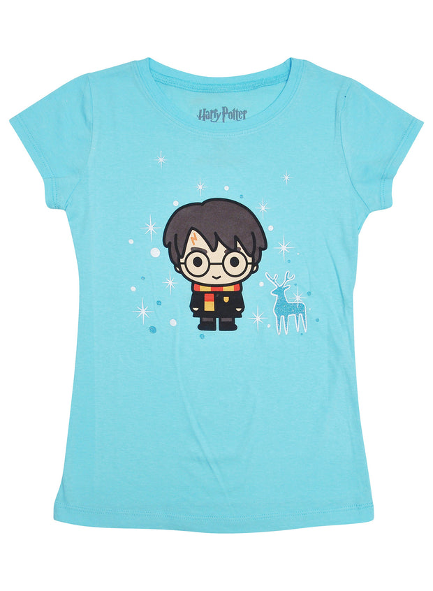 Harry Potter Girls Short Sleeve Glitter Christmas T-Shirt Light Blue
