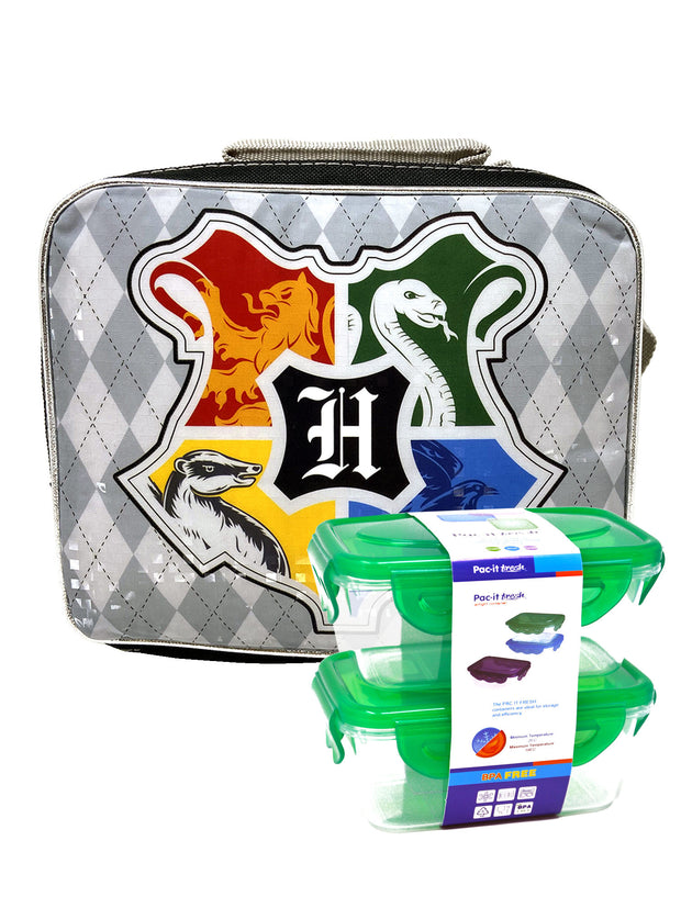 Harry Potter Insulated Lunch Bag Hogwarts Crest w/ 2-Pc Food Container Set