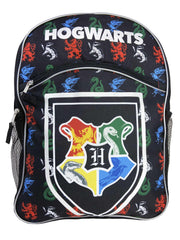 "Harry Potter Backpack 16"" Hogwarts Crest Black with Front Pocket"