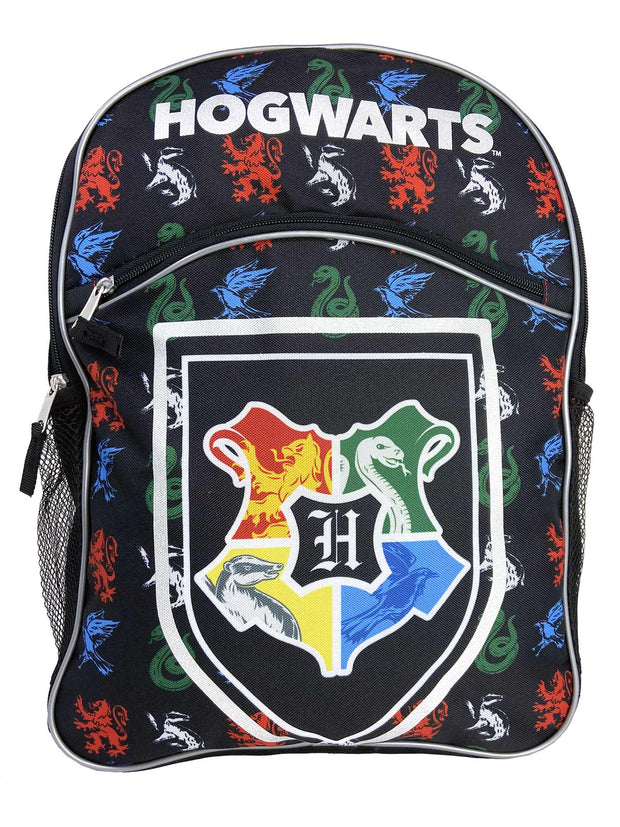 "Harry Potter 16"" Backpack Hogwarts Crest All-Over Print w/ Insulated Lunch Bag"