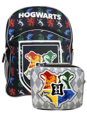 "Harry Potter 16"" Backpack All-Over Print w/ Insulated Lunch Bag Hogwarts Emblem"