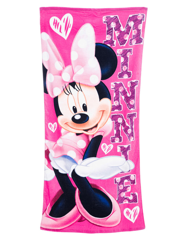 Girls Minnie Mouse Beach Towel Pink Hearts 58x28