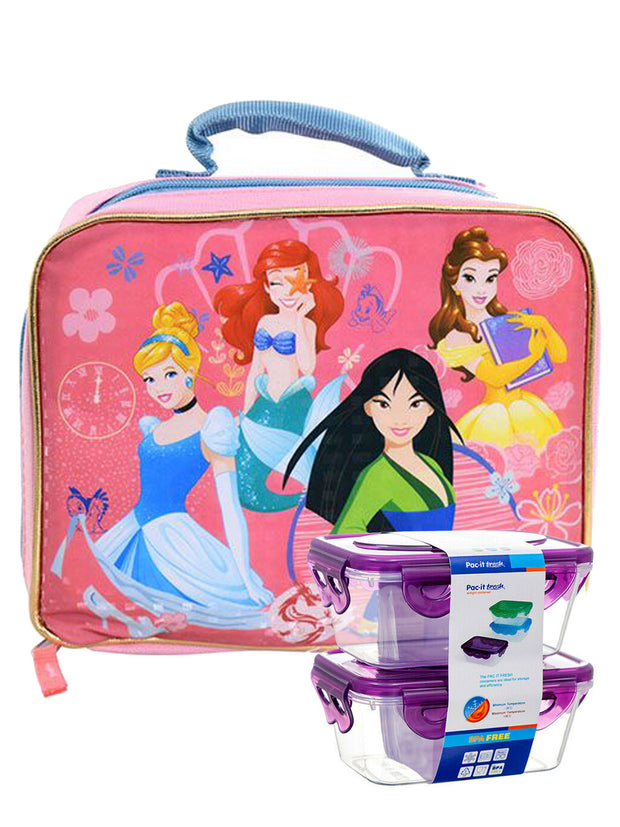 Disney Mulan Cinderella Insulated Lunch Bag Princesses w/ Snack Container Set