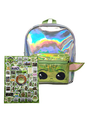 "Star Wars Boys Baby Yoda Mini 10"" Backpack w/ The child 3D Raised Stickers"