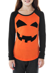 Girls Jack O Lantern Pumpkin T-Shirt Halloween Long Sleeve Halloween (Size 6/6X)