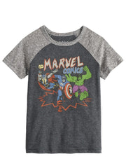 Jumping Beans Marvel Comics Captain America Hulk Thor Raglan T-Shirt Gray
