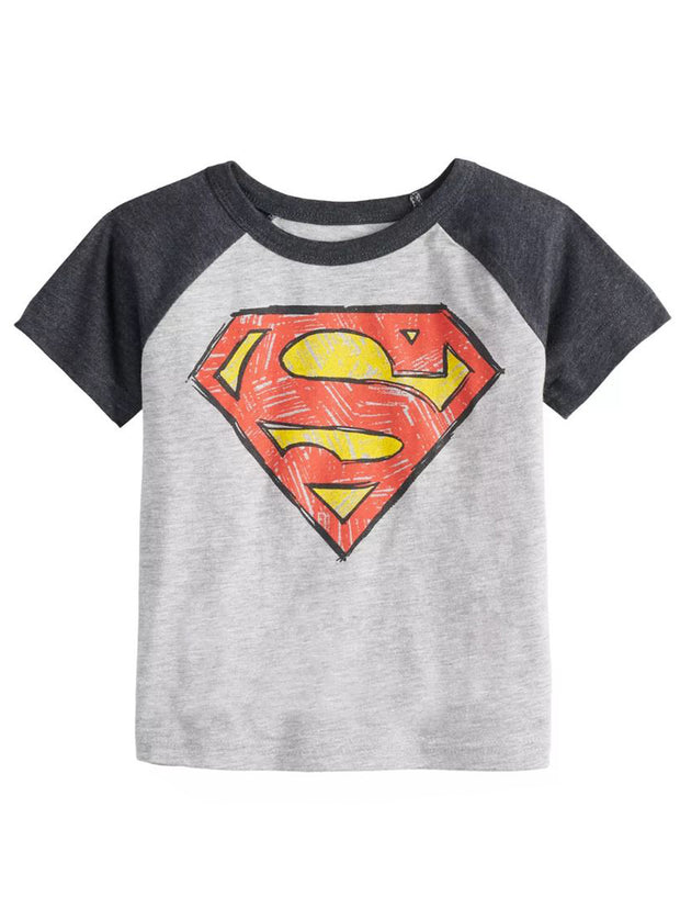 Jumping Beans DC Comics Superman Logo Raglan T-Shirt Gray (Size 4T)