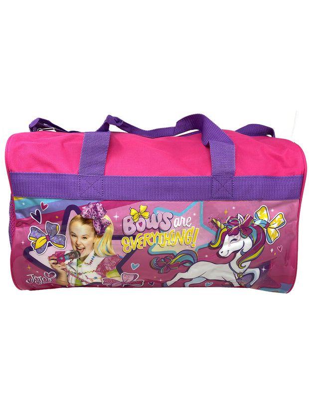 "JoJo Siwa Girls Duffel Bag 17"" Unicorns Shoulder Strap w/ Raised Sticker Sheet"