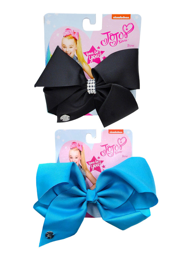 JoJo Siwa Girls Large Black Bow w/Rhinestones & Large Blue Bow 2-Piece Set