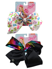 JoJo Siwa White All-Over Bow & Black Bow w/ Metallic Rainbow Hair Clip 2 Pieces