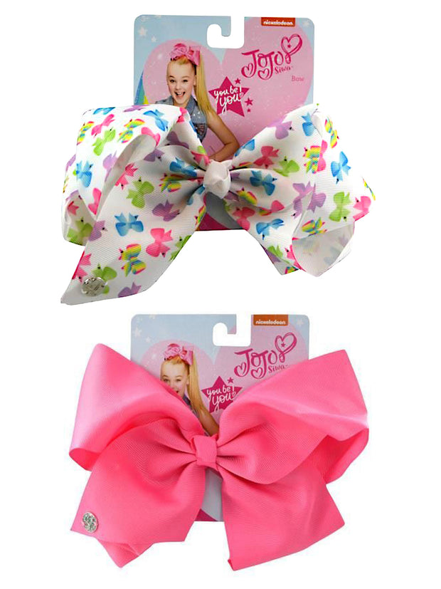 JoJo Siwa White w/ All-Over Print & Pretty Pink Bow Hair Clip 2 Piece Set