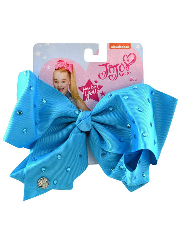 Girls Jojo Siwa  Blue Bow Large Hair Clip with Rhinestones