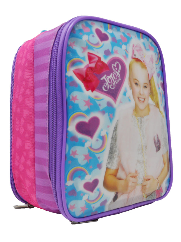 "Girls Jojo Siwa Insulated Lunch Bag Double Back-to-Back Compartment 8.5"" Purple"