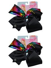 Girls JoJo Siwa Metallic Rainbow Drip Black Bow Hair Clip-On 2-Pack