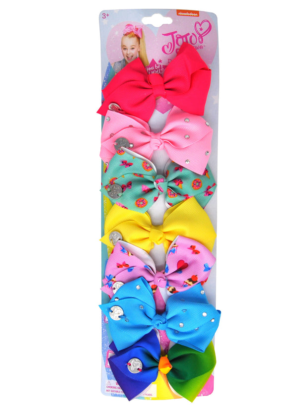 JoJo Siwa 7 days of the Week Bows with Cupcakes Hearts Treats and Donuts (7-Ct) Set