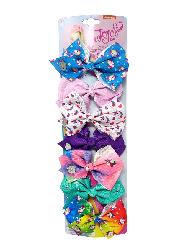 JoJo Siwa 7 days of the Week Bows with Unicorn and Rainbow Set