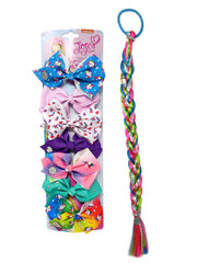 JoJo Siwa Unicorns Rainbows Bows (7-Count) & Fishtail Party Braid Set