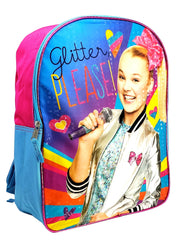 "Girls JoJo Siwa Backpack 15"" Glitter Please! w/ Raised 3D Sticker Sheet (22-CT)"