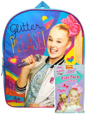 "Girls JoJo Siwa 15"" Backpack Glitter Please w/ Grab & Go Play Pack Crayons"