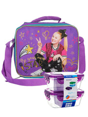 Jojo Siwa Shoulder Strap Insulated Lunch Bag w/ 2 pc Snack Container Set