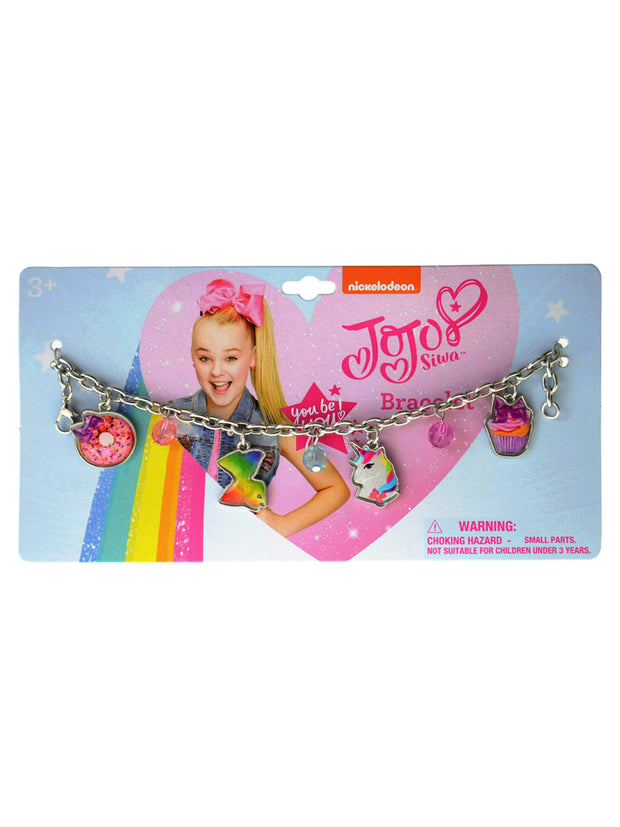 "Girls JoJo Siwa Charm Bracelet 7"" Metal Charm Jelly Beads"