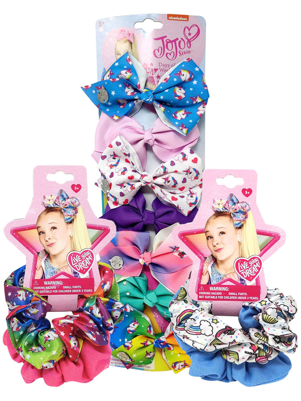 JoJo Siwa Hair Elastic Hair Scrunchies & Days of the Week Bows 11 Piece Set