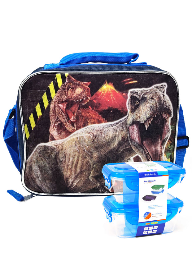 Jurassic World T-Rex Insulated Lunch Bag Shoulder Strap & 2 Pc Snack Containers