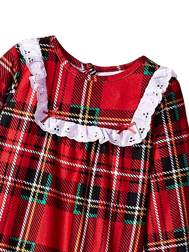 Girls Granny Style Plaid  Nightgown Flannel Red Size Extra Large