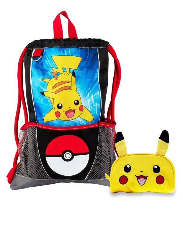 Kids Pokemon Pikachu Pokeball Sling Bag & Pencil Case 2-Piece