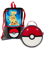Kids Pokemon Pikachu Pokeball Sling Bag & Lunch Bag 2-Piece