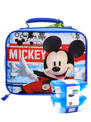 Disney Mickey Mouse Smiling Insulated Lunch Bag w/ 2 pc Snack Container Set