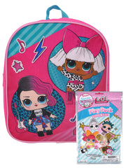 "Girls Lol Surprise 12"" Mini Backpack Music w/ Play Pack Coloring Book Markers"