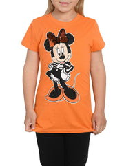 Girls Disney Minnie Mouse Halloween T-Shirt Orange Reversible Sequins